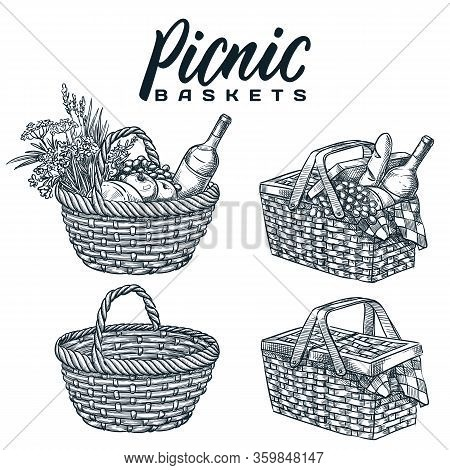Picnic Baskets Set, Isolated On White Background. Vector Hand Drawn Sketch Illustration. Summer Outd
