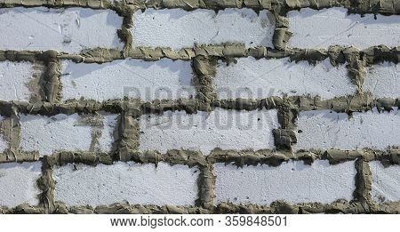 Background Of Wall With Bricks. Wall From Gas Blocks. Brickwork.