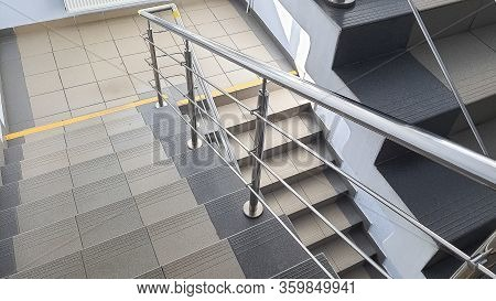 Staircase At The Entrance Of A Multi-storey Building. Steps Of Stairs In The Staircase. View From Th