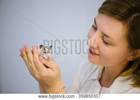 Woman Holds White Furry Little Mouse On White Background. Cute Young Mice In Hands Of Veterinarian.
