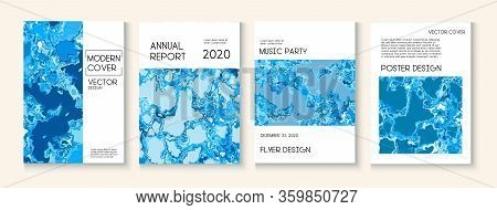 Geographic Map Fluid Paint Vector Cover. Funky Earth Day Ecology Poster. Water Ecology Blue Winter R