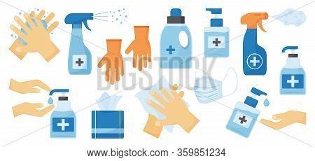 Disinfection. Hand Hygiene. Set Of Hand Sanitizer Bottles, Face Medical Mask, Washing Gel, Spray, We