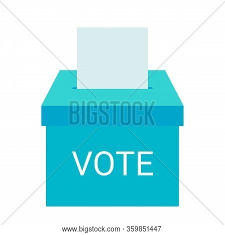 Voting Box And Voters Choose. Put Ballot Paper In Ballot Box. Online Electronic Voting And Election