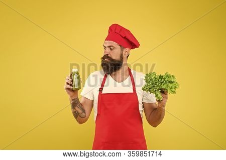 Drinking Is More Easy. Fresh Juice. Squeezing Smoothie. Man Bearded Chef Hold Lettuce And Smoothie B