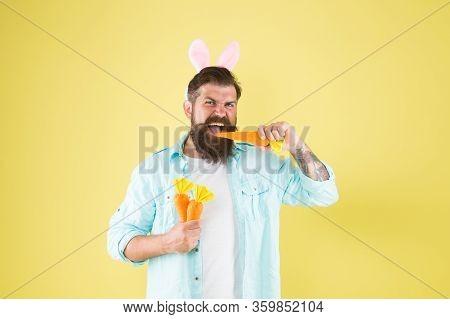 Carrots Good For Snack. Easter Rabbit Eat Carrot. Brutal Hipster Enjoy Vegetarian Snack. Vegetable S