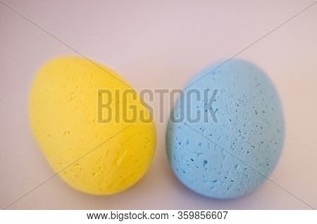 Multi-colored Eggs Made Of Polystyrene, Easter Decor For Studios Made Of Polystyrene Foam On A White