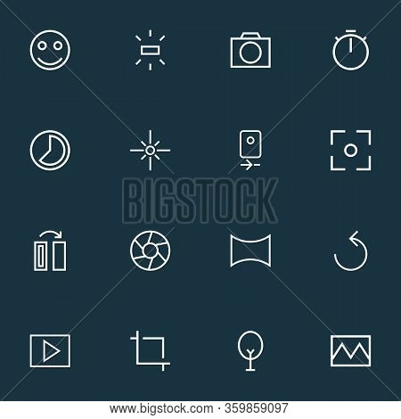 Photo Icons Line Style Set With Capture, Angle, Smile And Other Broken Image Elements. Isolated Vect