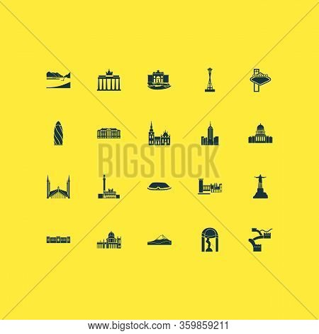 Culture Icons Set With Oslo Cathedral, Loch Ness, Capitol Hill And Other Congress Elements. Isolated