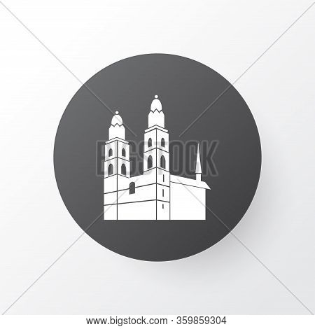 Grossmunster Cathedral Icon Symbol. Premium Quality Isolated Kingdom Element In Trendy Style.