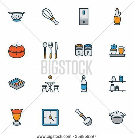 Gastronomy Icons Colored Line Set With Ice Cream Glass, Soup Ladle, Clock And Other Kitchen Spoon El