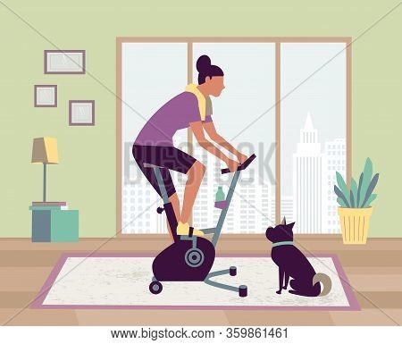 Woman Riding Stationary Bike Stay At Home With Pet Vector. Workout At Home Gym Cardio Fitness Traini