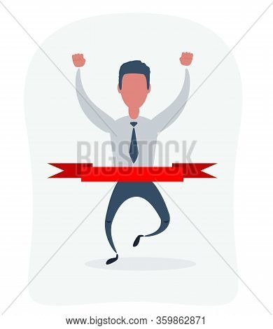Concept Of Successful Businessman In A Finishing Line. Businessman Victory With Hands Up Run Toward