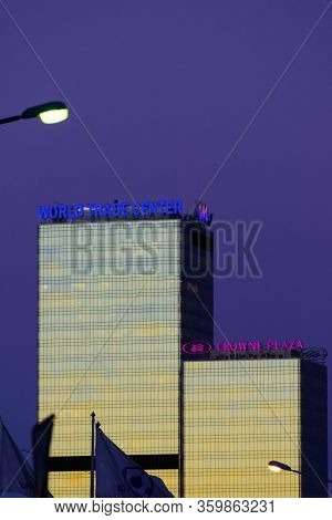 Moscow, Russia - 02 17 2017: The World Trade Center (wtc) Building In Moscow At Dusk Reflect The Gol
