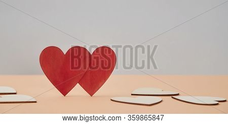 Saint Valentines Day Mockup. Love Relationship. Couple In Love. Sweethearts And Amour. Red Hearts Wi