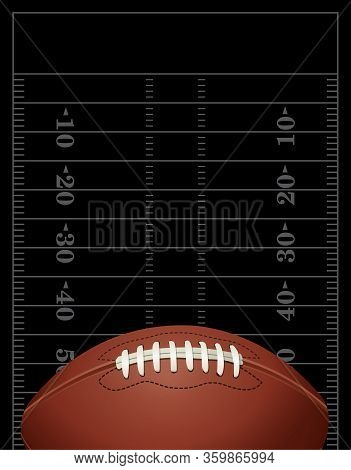 An American Football On Black Field Background Illustration