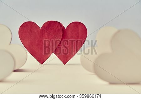 Hearts In Love Mockup. Saint Valentines Day. Sweethearts And Amour. Wedding And Fondness. Two Red He