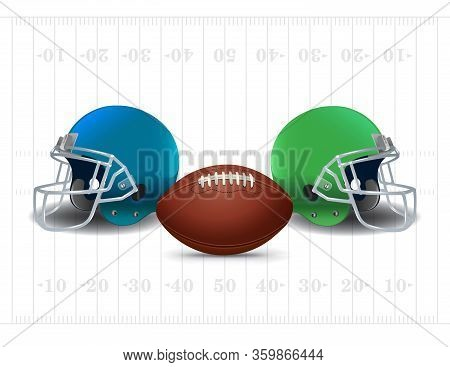 American Football Ball And Helmets Field Background Illustration