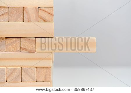 The Concept Is Beyond A Systematic Approach. Wooden Blocks On A White Background Background. Close U