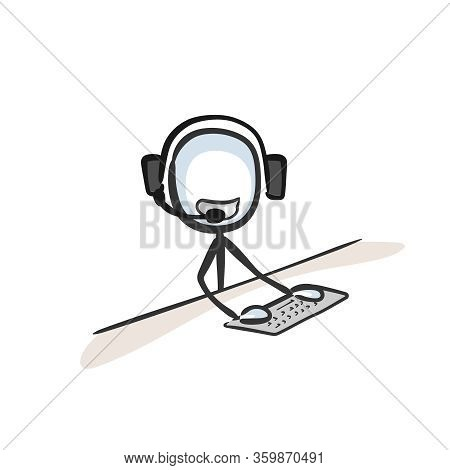 Call Center. Cutomer Service Agent Worker. Client Communication By Phone. Hand Drawn. Stickman Carto