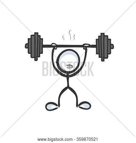 Strong Athlete Holding Barbell. Heavy Weight Workout In Gym. Body And Muscle Training. Hand Drawn. S