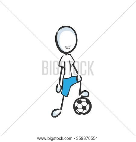 Football Player. Team Game Soccer. Sports Activity. Hand Drawn. Stickman Cartoon. Doodle Sketch, Vec