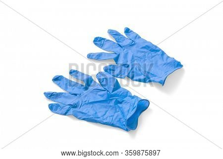 Blue medical gloves on white background, including clipping path