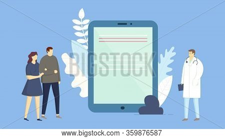 Concept Of Online Doctor, Medical Insurance, Healthcare And Medicine. Couple Man And Woman At Doctor