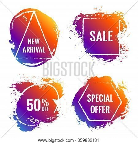 Purple Yellow Marketing Banners For Summer Sale. Advertising Banners With Geometric Shape Borders, B