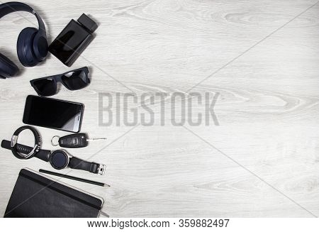 Flatley Mens Accessories. Place To Copy. Mens Clothing On A Wooden Background. The View From The Top