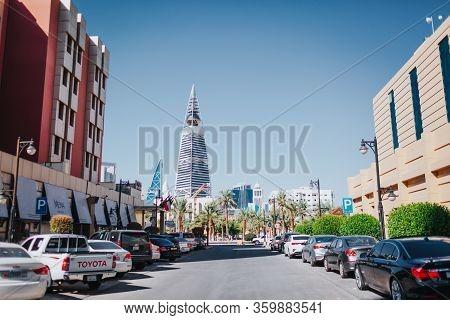 Riyadh, Saudi Arabia - November 6, 2019: Al Faisaliah Tower . Al Faisaliah Towers Is A Luxury Hotel