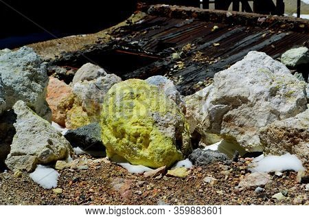 Huge Chunks Of Pure Sulfur Stone Mined From Cerro Estrella, Teh Sulfur Mountain, At 5250 Meters Abov