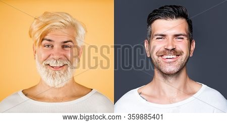 Portrait Of Happy Bearded Man Set. Long Beard. Hair And Beard Coloring. Barbershop Design. Set Of Ma