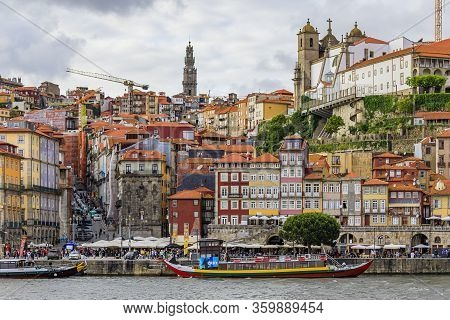 Porto, Portugal - May 30, 2018: Facades Of Traditional Houses With Azulejo Tile In Ribeira And Touri