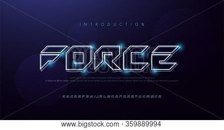 Technology Abstract Neon Font And Alphabet. Techno Effect Logo Designs. Typography Digital, Space, M