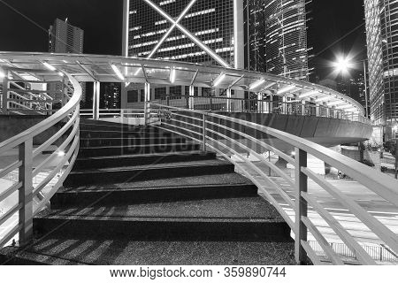 Stair Of Pedestrian Walkway In Midtown Of Hong Kong City At Night