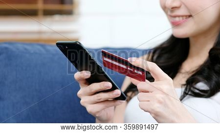 Online Phone Payment By Credit Card, Close Up Of Hand Using Mobile Phone Make Digital Money Payment