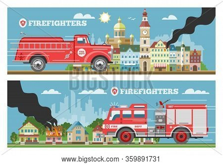 Fire Truck Rescue Engine Transportation, Firefighter Emergency Cars In Cityspace Buldings Banners Se