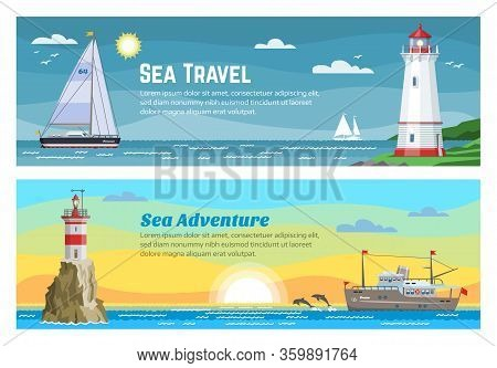 Lighthouse Sea Travel Banners Set Vector Illustration Of Blue Ocean, Island Landscape. Sea, Seagull,