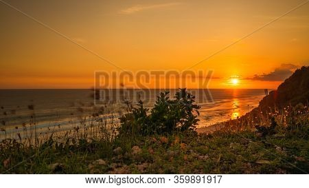 Wonderful Landscape. Sunset View From The Cliff. Amazing Sun Reflection. Golden Hour During Sunset.