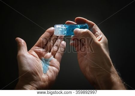 Hand sanitizer alcohol gel rub coronavirus virus protection on hands