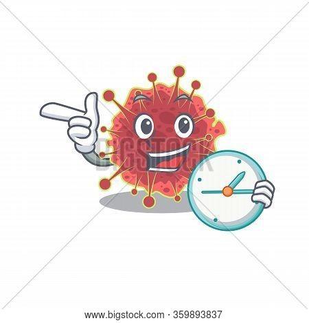 Coronaviridae Mascot Design Concept Smiling With Clock