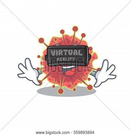 Cartoon Design Style Of Coronaviridae With Modern Virtual Reality Headset
