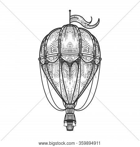 Vintage Air Balloon Transport Sketch Engraving Vector Illustration. T-shirt Apparel Print Design. Sc