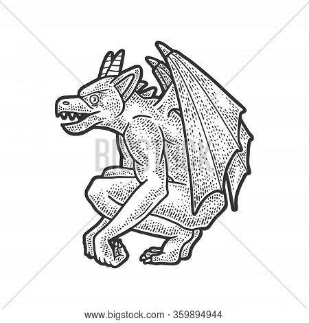 Gargoyle Statue Sketch Engraving Vector Illustration. T-shirt Apparel Print Design. Scratch Board Im