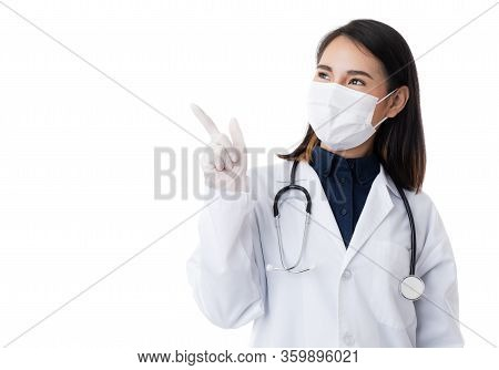 Medical Female People Wearing Surgical Hygiene Protective Mask On Face. Young Asian Doctor Female. P