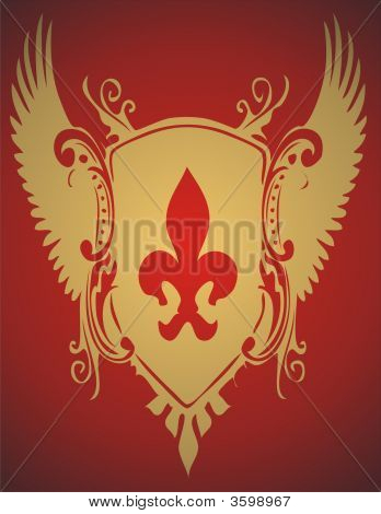 Golden Crest On Red Background