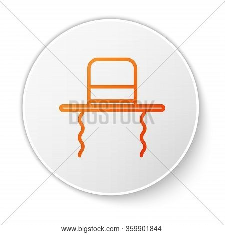 Orange Line Orthodox Jewish Hat With Sidelocks Icon Isolated On White Background. Jewish Men In The