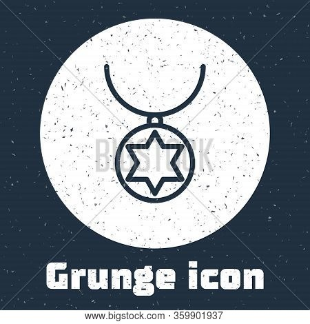 Grunge Line Star Of David Necklace On Chain Icon Isolated On Grey Background. Jewish Religion. Symbo