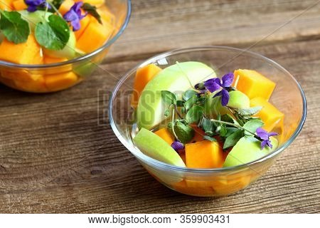 Fermented Salad From Butternut And Green Apple With Dressing. Vegetarian Fermented Salad Decorated W