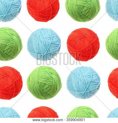 Seamless Pattern. Clew Of Woolen Thread Isolated. Color Ball Of Woolen. Red, Green And Blue Knit. Kn